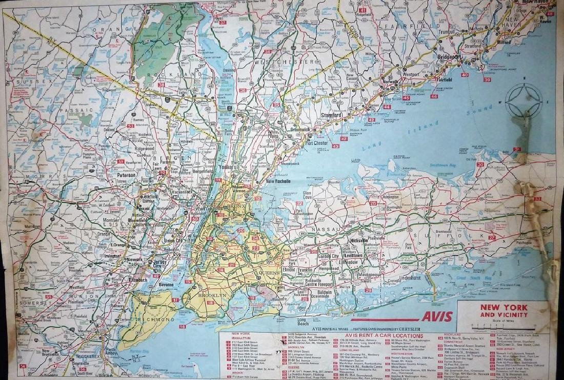 Avis Rent-A-Car NYC & Vicinity Vintage Road Map - 2
