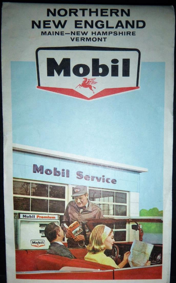 Rand McNally: Mobil - Northern New England Map, 1965