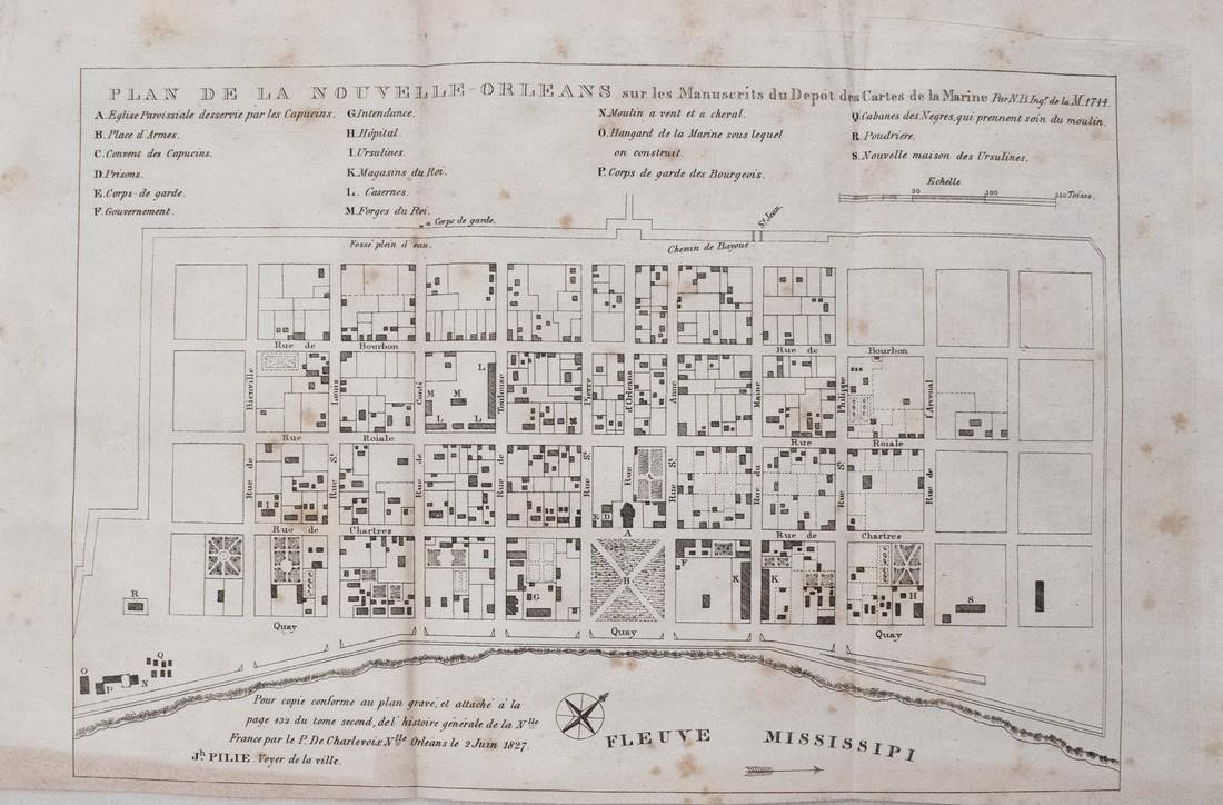 Bellin: Antique Map of New Orleans, 1827
