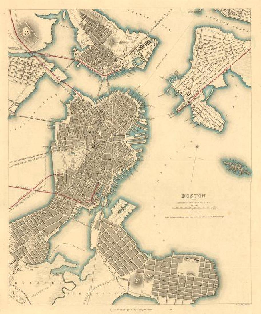 SDUK: Antique Map of Boston & Charlestown, 1847