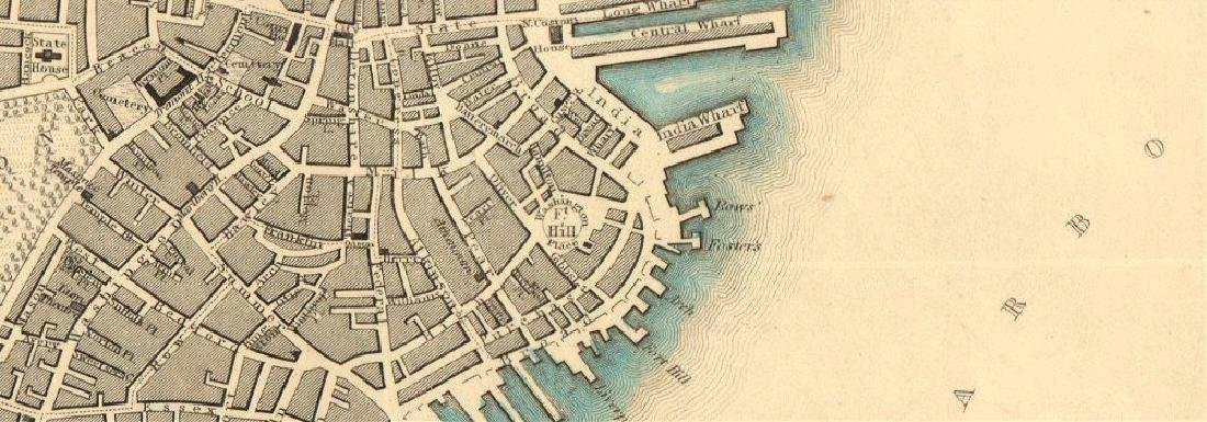SDUK: Antique Map of Boston & Charlestown, 1847 - 2
