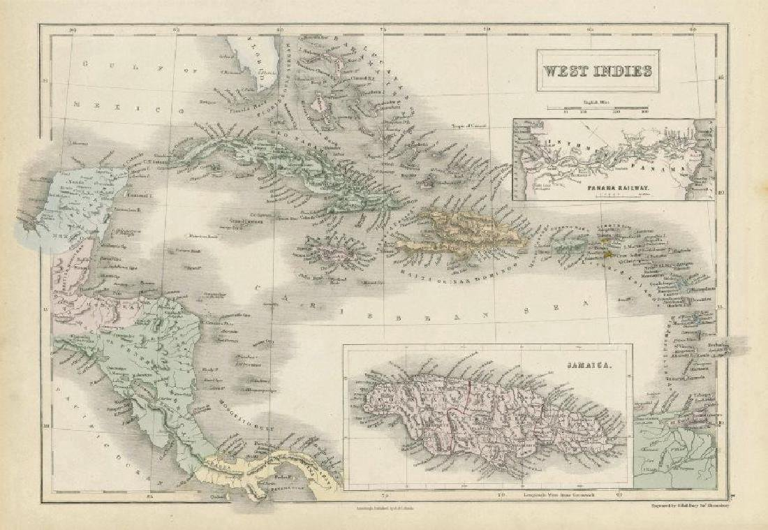 Sidney Hall: Antique Map of the West Indies, 1856