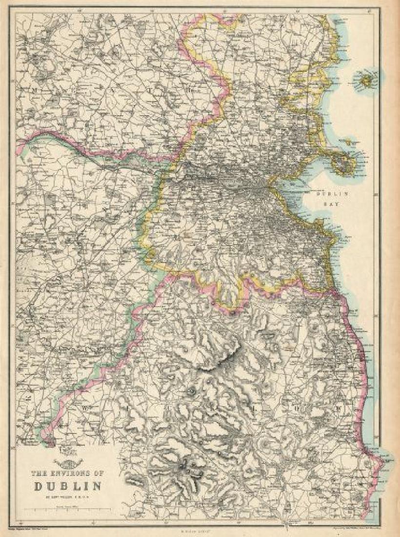 Weller: Antique Map of Dublin Environs, 1863
