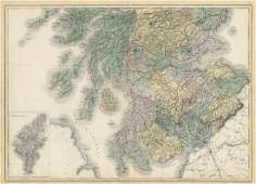 Sidney Hall: Antique Map of Central/Southern Scotland