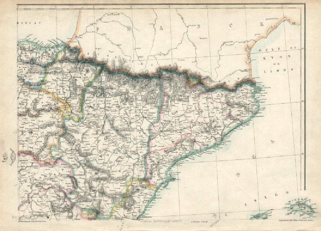 Weller: Antique Map of Northeast Spain, 1863