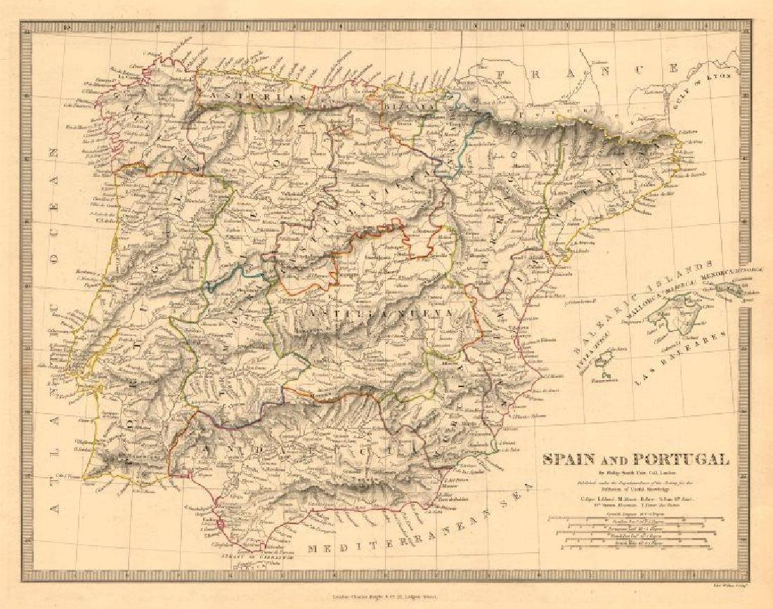 SDUK: Antique Map of Spain & Portugal, 1845