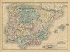 Sidney Hall: Antique Map of Spain & Portugal, 1856