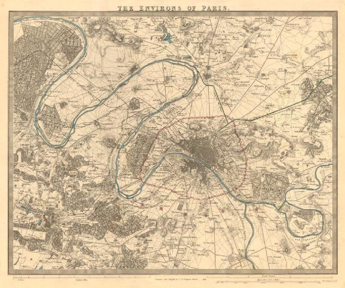 SDUK: Antique Map of Paris Environs, 1847