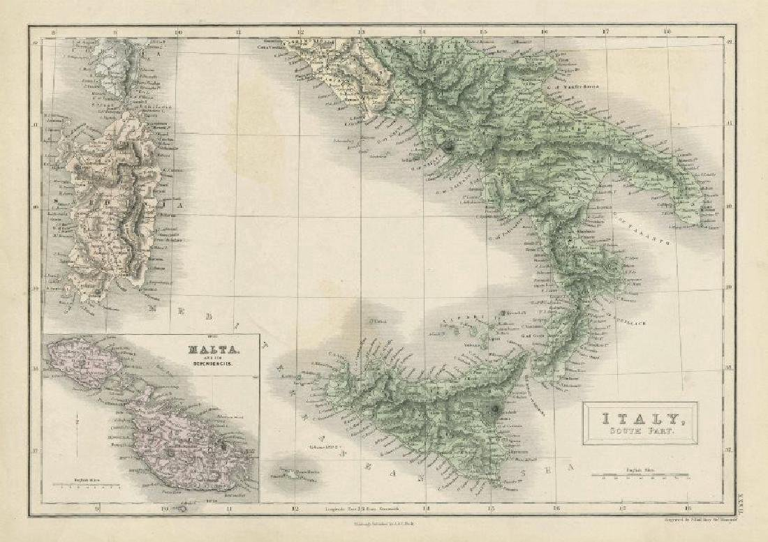 Sidney Hall: Antique Map of South Italy, 1856