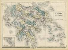 Sidney Hall: Antique Map of Hellas or Greece, 1856