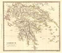 SDUK: Antique Map of Greece Ionian Islands, 1845