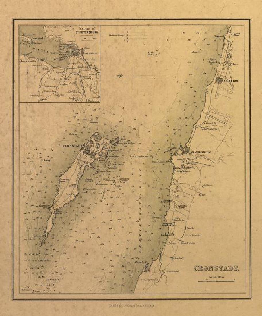 Sidney Hall: Antique Map Cronstadt & Kotlin Island 1856