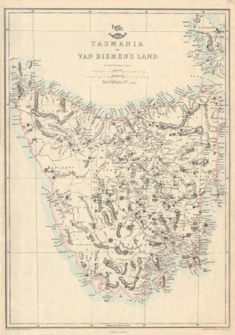 Weller: Antique Map of Tasmania or Van Diemen's Land