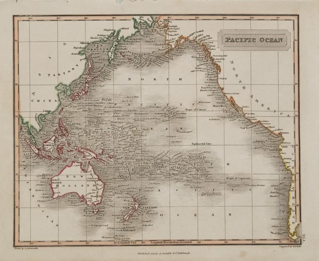 Arrowsmith: Antique Map of Pacific Ocean, 1823