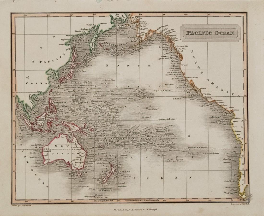 Arrowsmith: Antique Map of Pacific Ocean, 1823