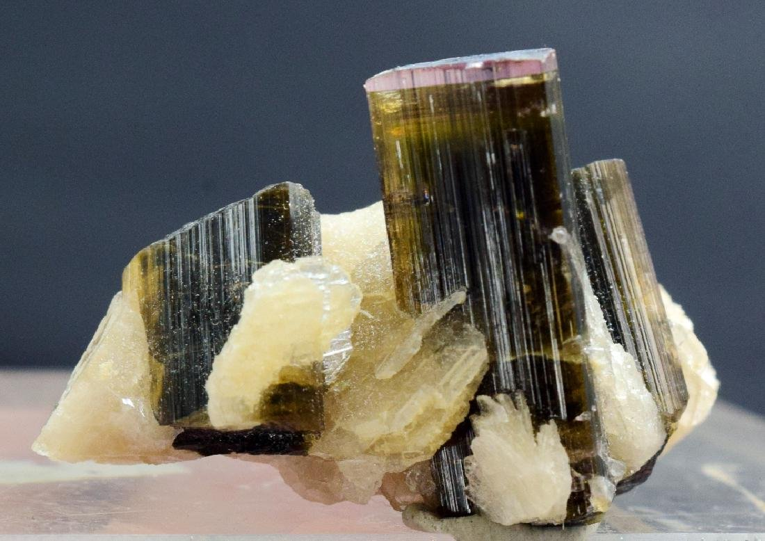 76.55 Carat Tri Color Tourmaline Crystal with Albite - 7