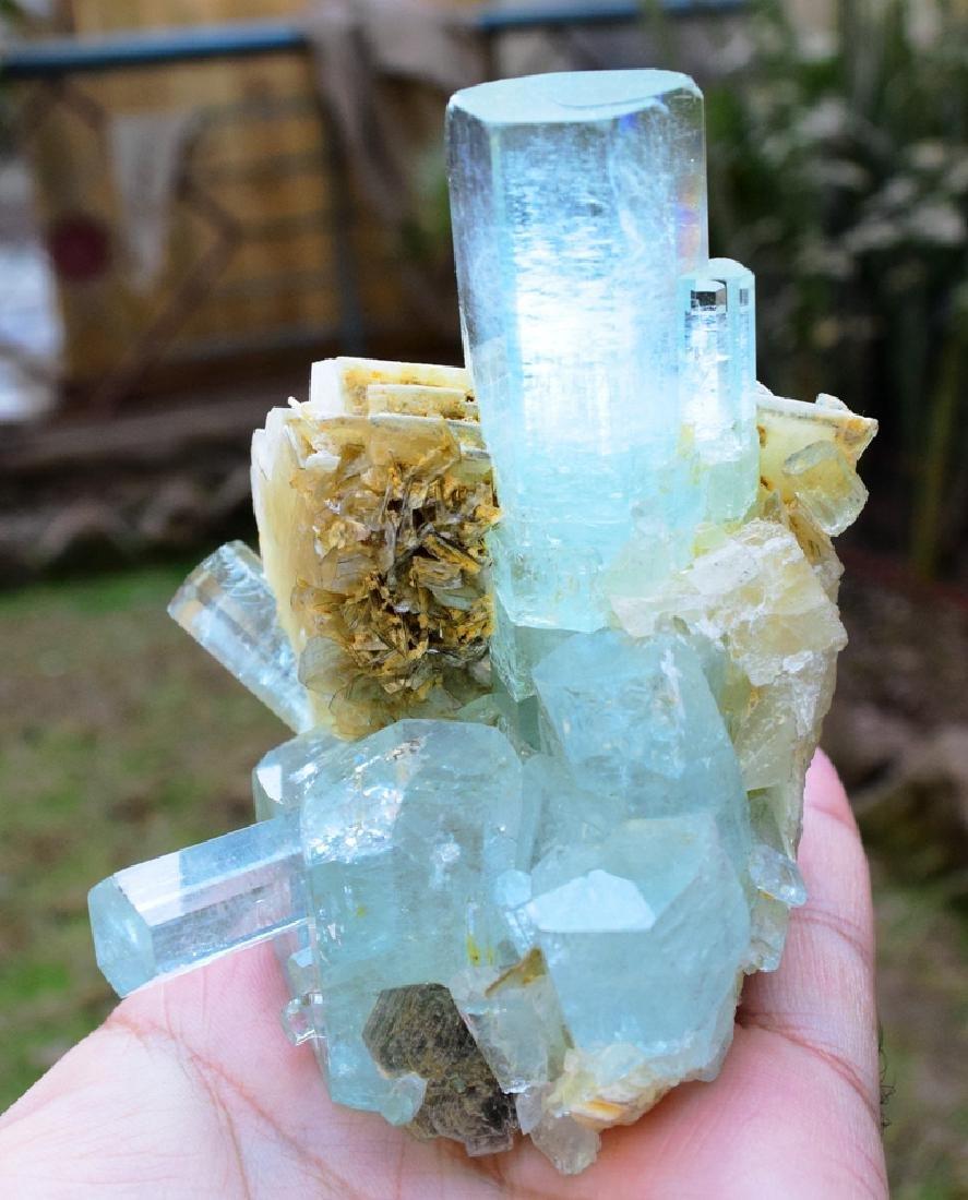 301 Gram Aquamarine Crystals with Adularia Specimen - 7