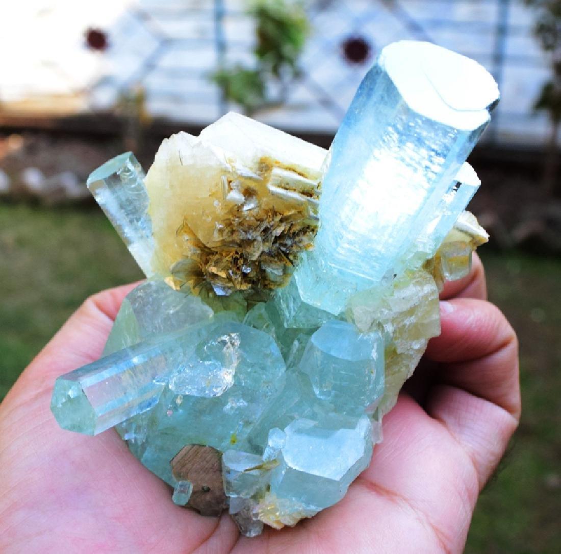 301 Gram Aquamarine Crystals with Adularia Specimen - 8