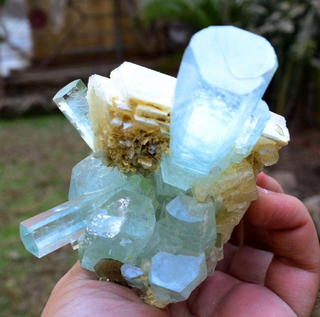 301 Gram Aquamarine Crystals with Adularia Specimen - 9