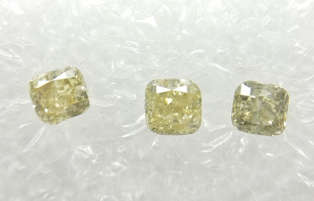 0.55 Carat Lot of 3 Loose Fancy Cushion Diamonds