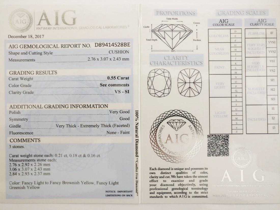 0.55 Carat Lot of 3 Loose Fancy Cushion Diamonds - 5