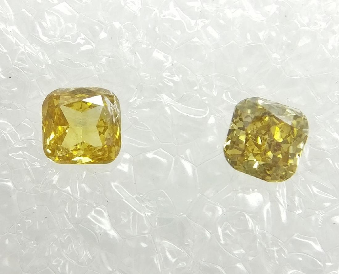 0.21 Carat Lot of 2 Loose Fancy Yellow Diamonds