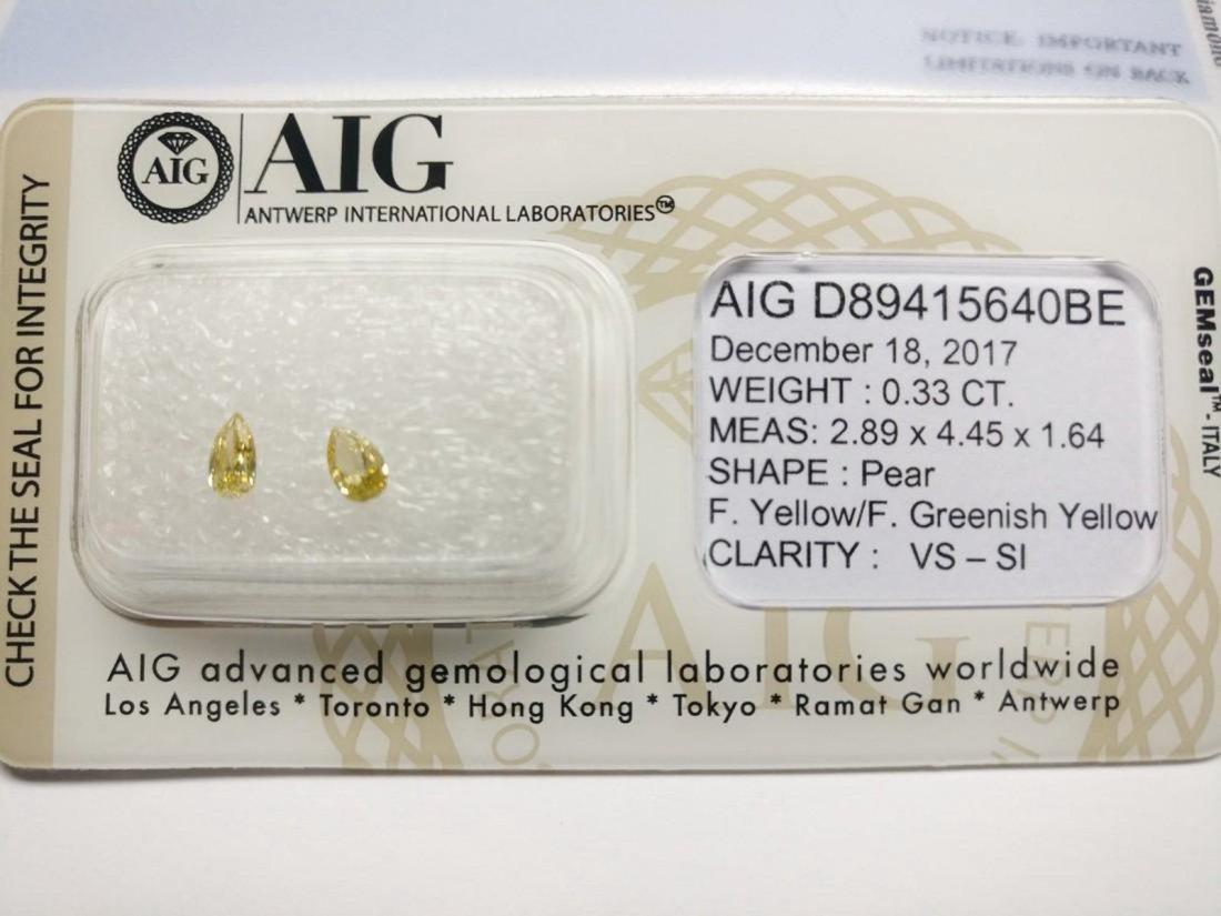 0.33 Carat Lot of 2 Loose Fancy Yellow Pear Diamonds - 2