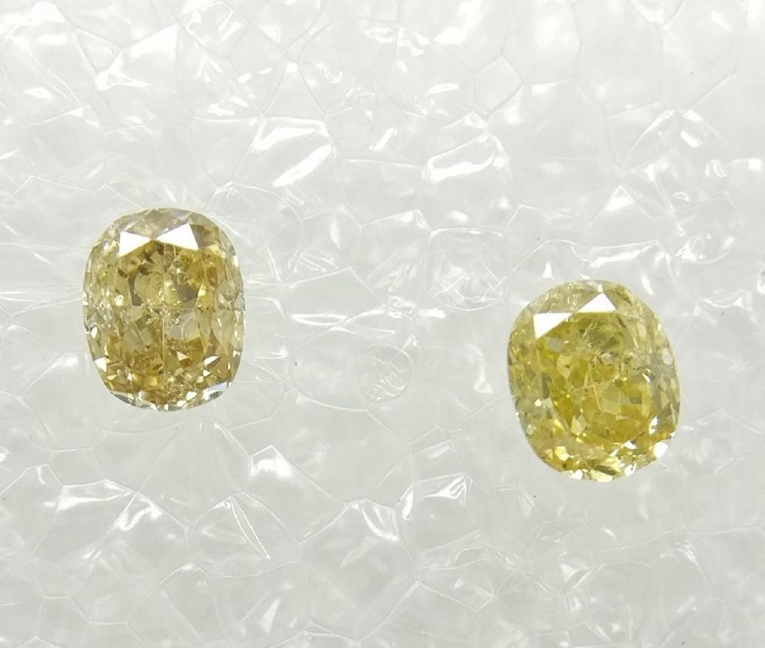 0.25 Carat Lot of 2 Loose Fancy Cushion Diamonds