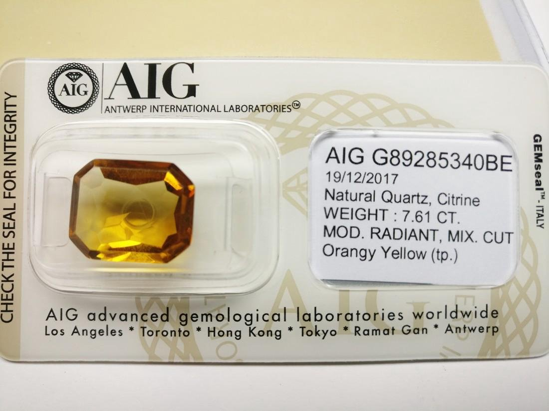 7.61 Carat Loose Citrine Orangy Yellow - 2