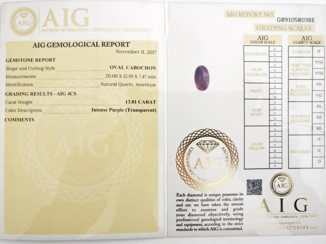 13.01 Carat Loose Amethyst Intense Purple - 5