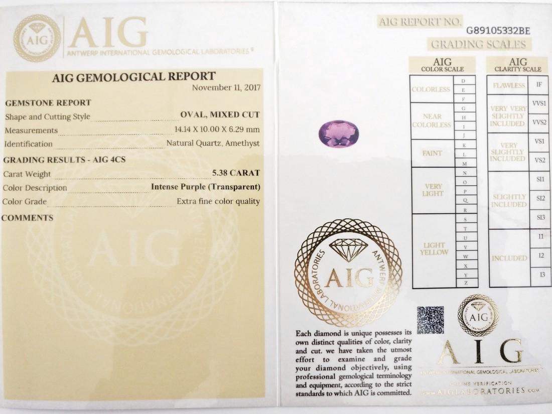 5.38 Carat Loose Amethyst Intense Purple - 6