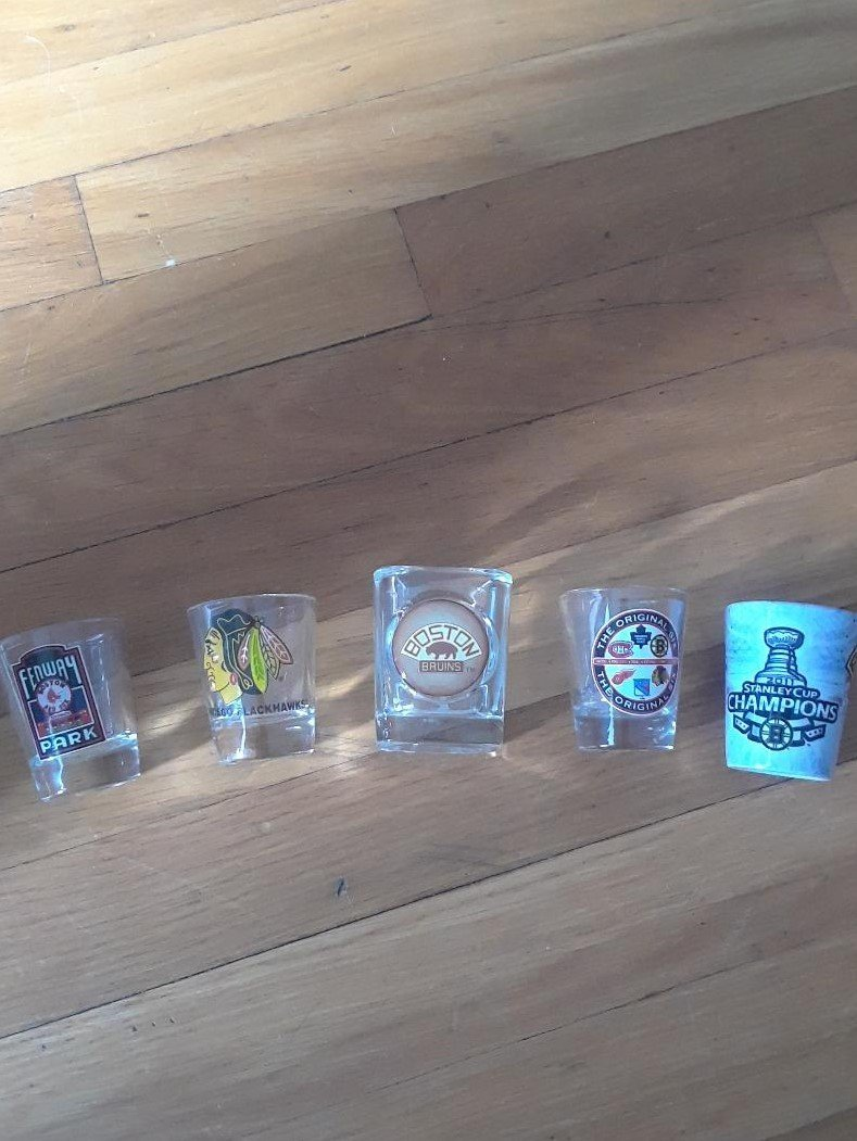 5 Count NHL MLB Shot Glasses