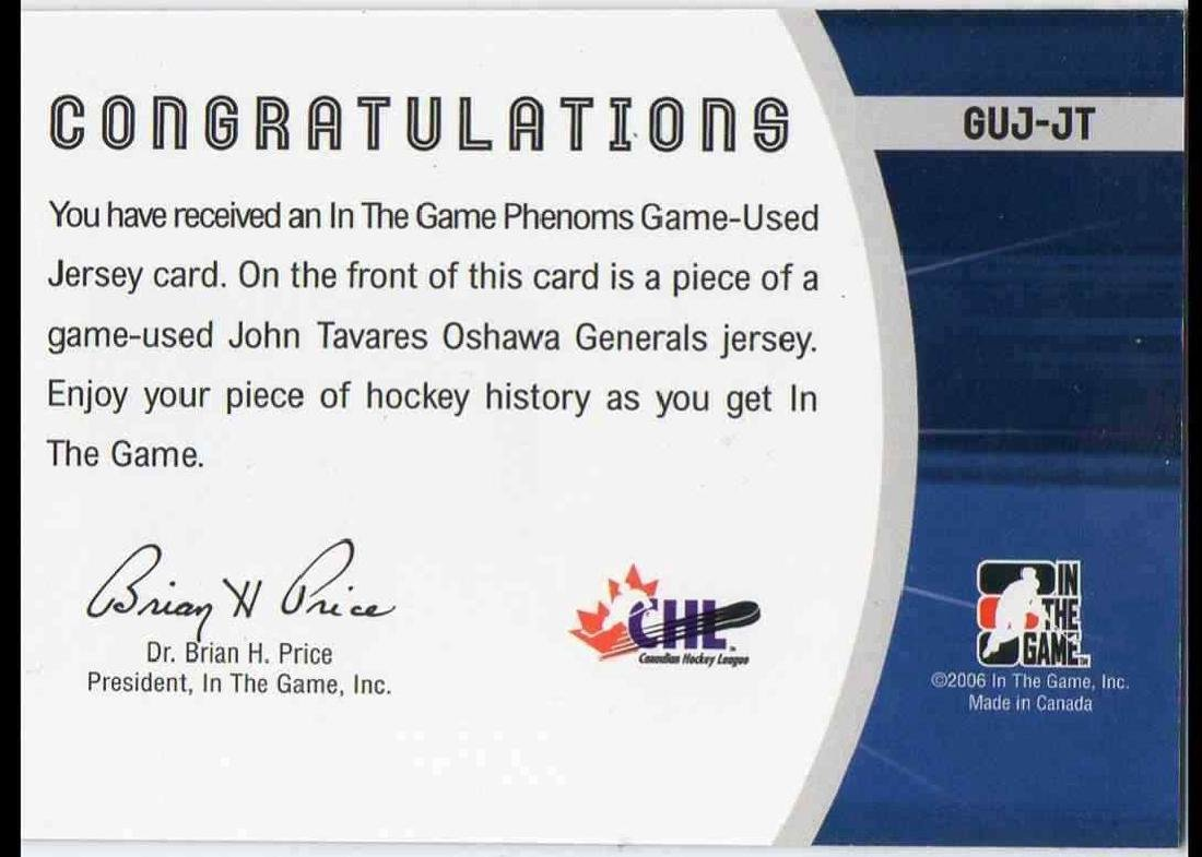 2006-07 In The Game Phenoms John Tavares Rookie Jersey - 2