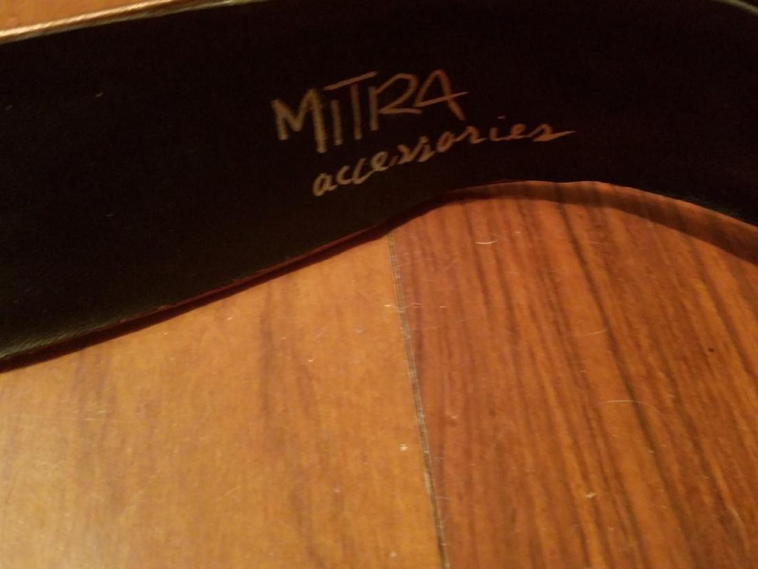 Vintage Mitra Leather Resin Embellished Crystals - 4