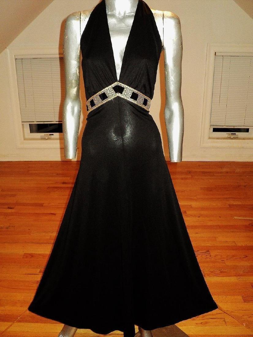 Vintage Halter Maxi Gown Studio St. Croix Empire Sash