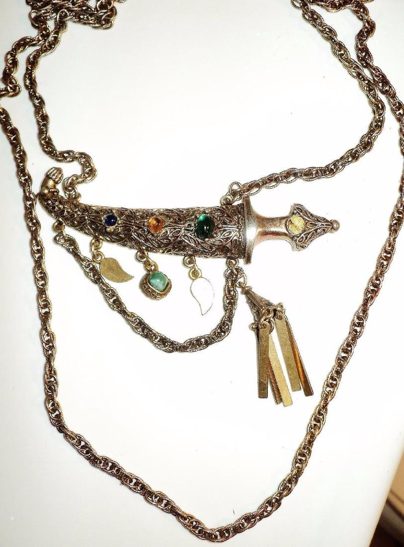 Weiss Signed Rare Saber Necklace Gold Overlay Filigree - 3
