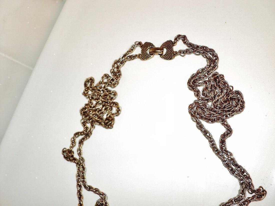 Weiss Signed Rare Saber Necklace Gold Overlay Filigree - 5