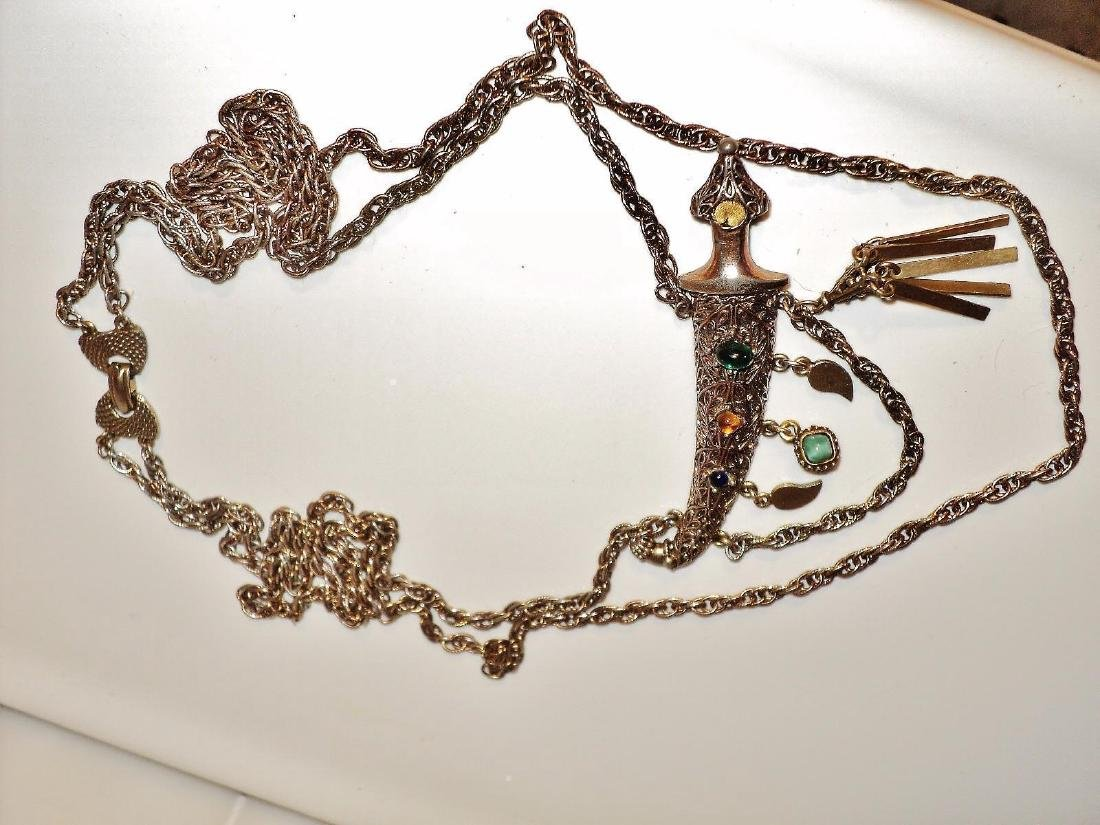 Weiss Signed Rare Saber Necklace Gold Overlay Filigree - 7