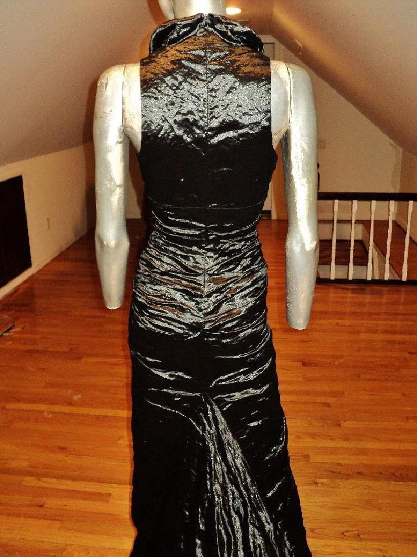Nicole Miller Couture Runway Gown Rippled Metallic - 5