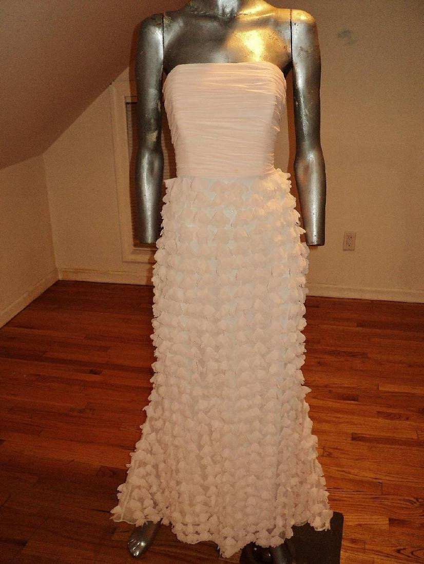 Badgley Mischka Collection Strapless Chiffon Petal Gown - 3