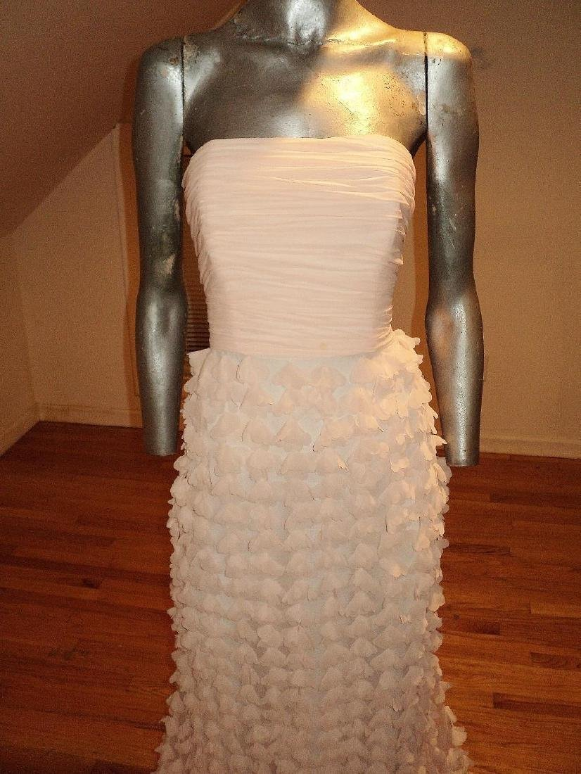 Badgley Mischka Collection Strapless Chiffon Petal Gown - 4