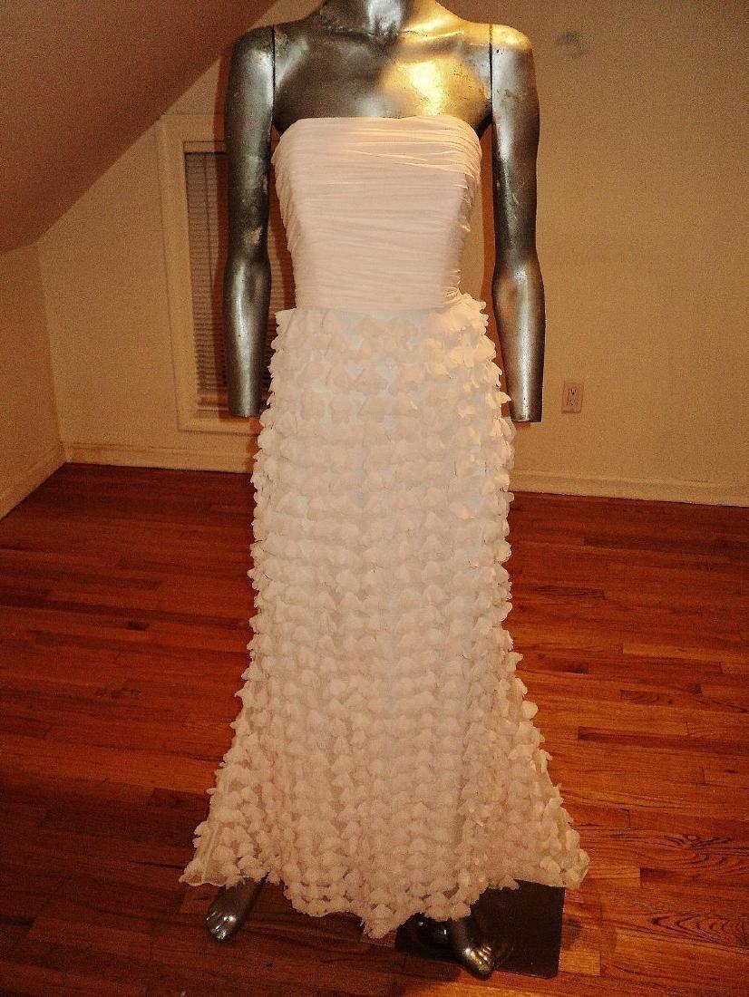 Badgley Mischka Collection Strapless Chiffon Petal Gown - 5