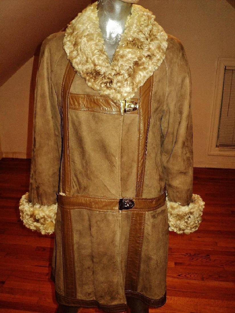 Vintage Shearling Mouton Suede Camel Leather Coat