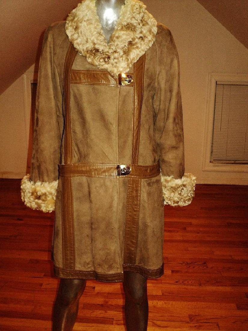 Vintage Shearling Mouton Suede Camel Leather Coat - 2