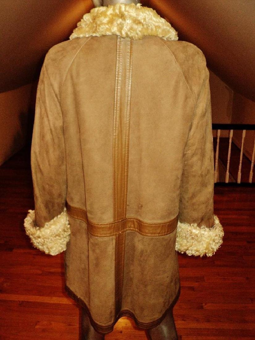 Vintage Shearling Mouton Suede Camel Leather Coat - 4
