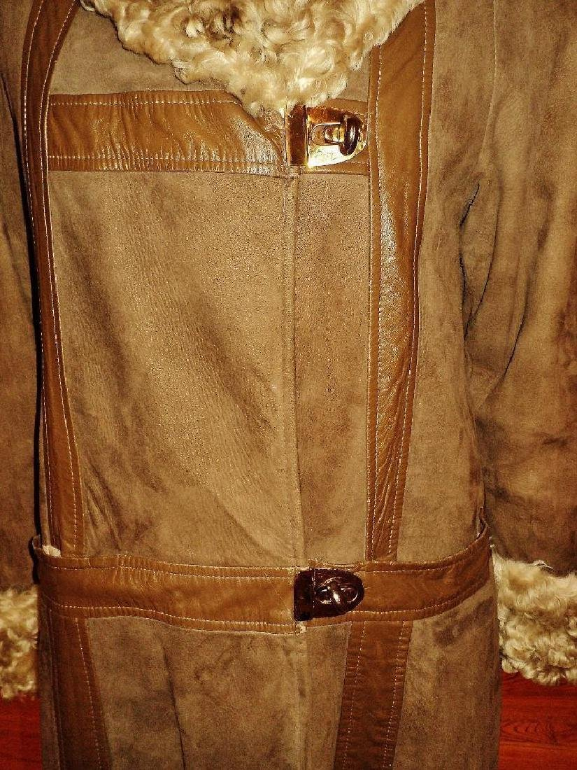 Vintage Shearling Mouton Suede Camel Leather Coat - 5