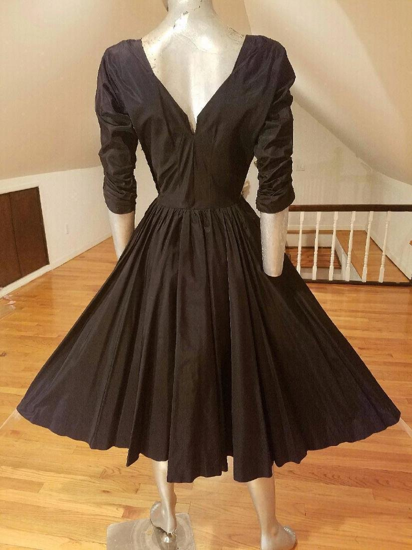 Vintage Bernetti 1950's Full Sweep Shantung Dress - 2