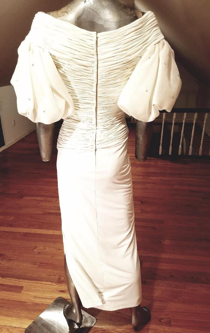Vintage Rose Taft Couture Shirred Gown Balloon Sleeves - 10