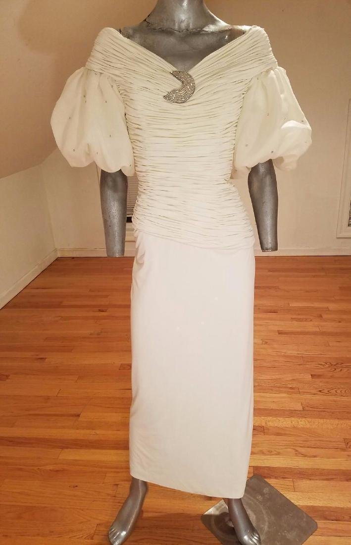 Vintage Rose Taft Couture Shirred Gown Balloon Sleeves