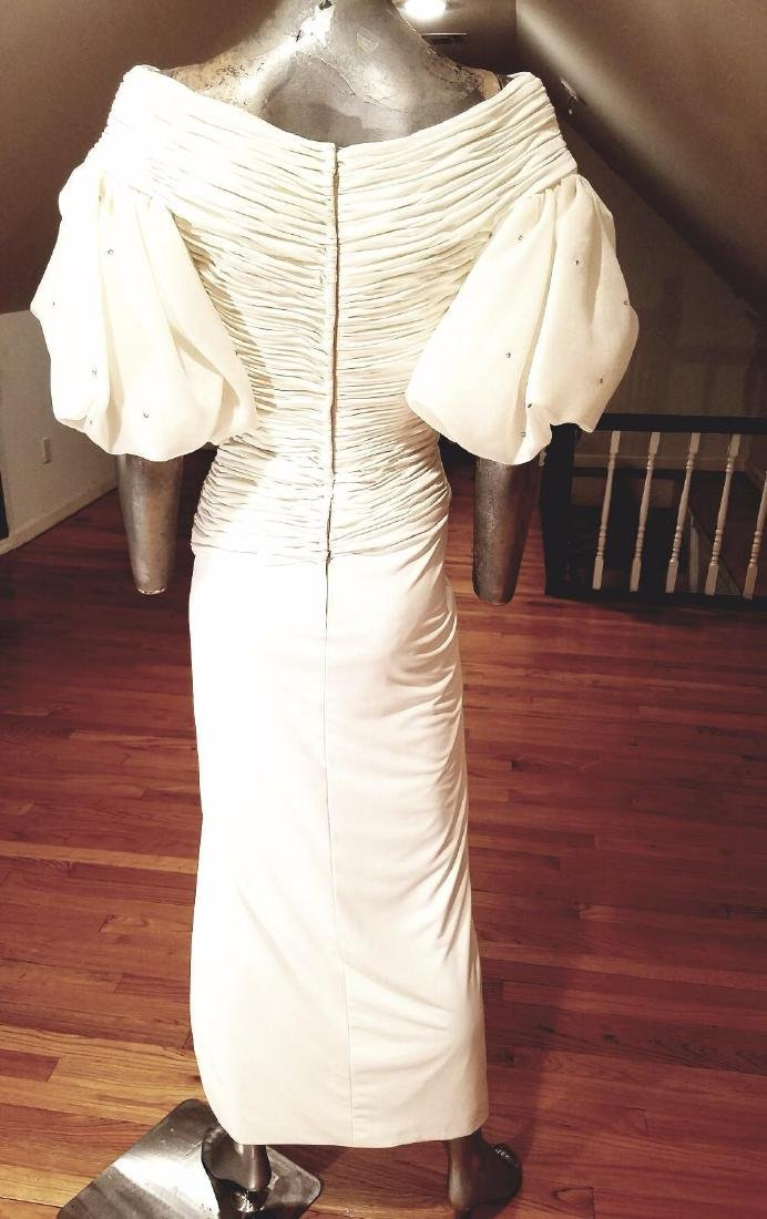 Vintage Rose Taft Couture Shirred Gown Balloon Sleeves - 2
